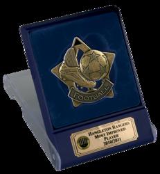 Bronze Football Star Medal In Flip Top Box