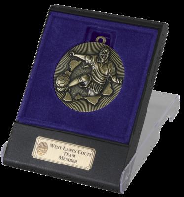 Explode Gold Football Medal  In Flip Top Box