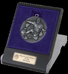 Explode Silver Football Medal In Flip Top Box