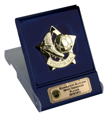 Gold Football Star Medal In Flip Top Box