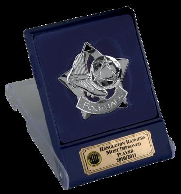 Silver Football Star Medal In Flip Top Box