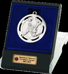 Silver Volley Football Medal In Flip Top Box